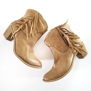 Diba Real Deal Leather fringe western booties boot